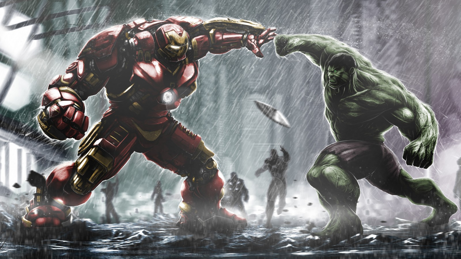 Power Rangers 3d Wallpaper Hulkbuster Ironman Vs Hulk Wallpapers Hd Wallpapers Id