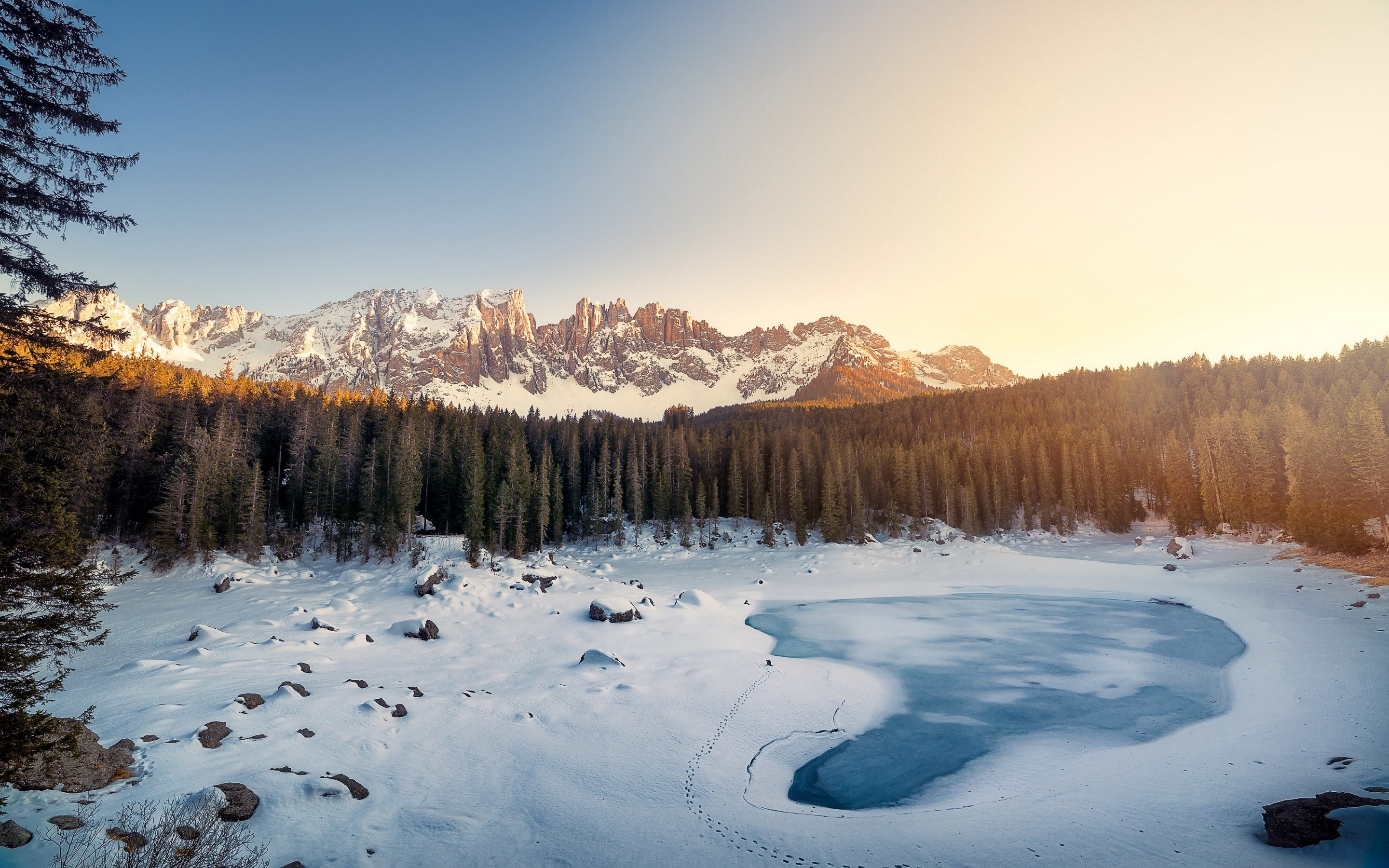 3d Fall Desktop Wallpaper Karersee Lake Winter Italy Wallpapers Hd Wallpapers Id