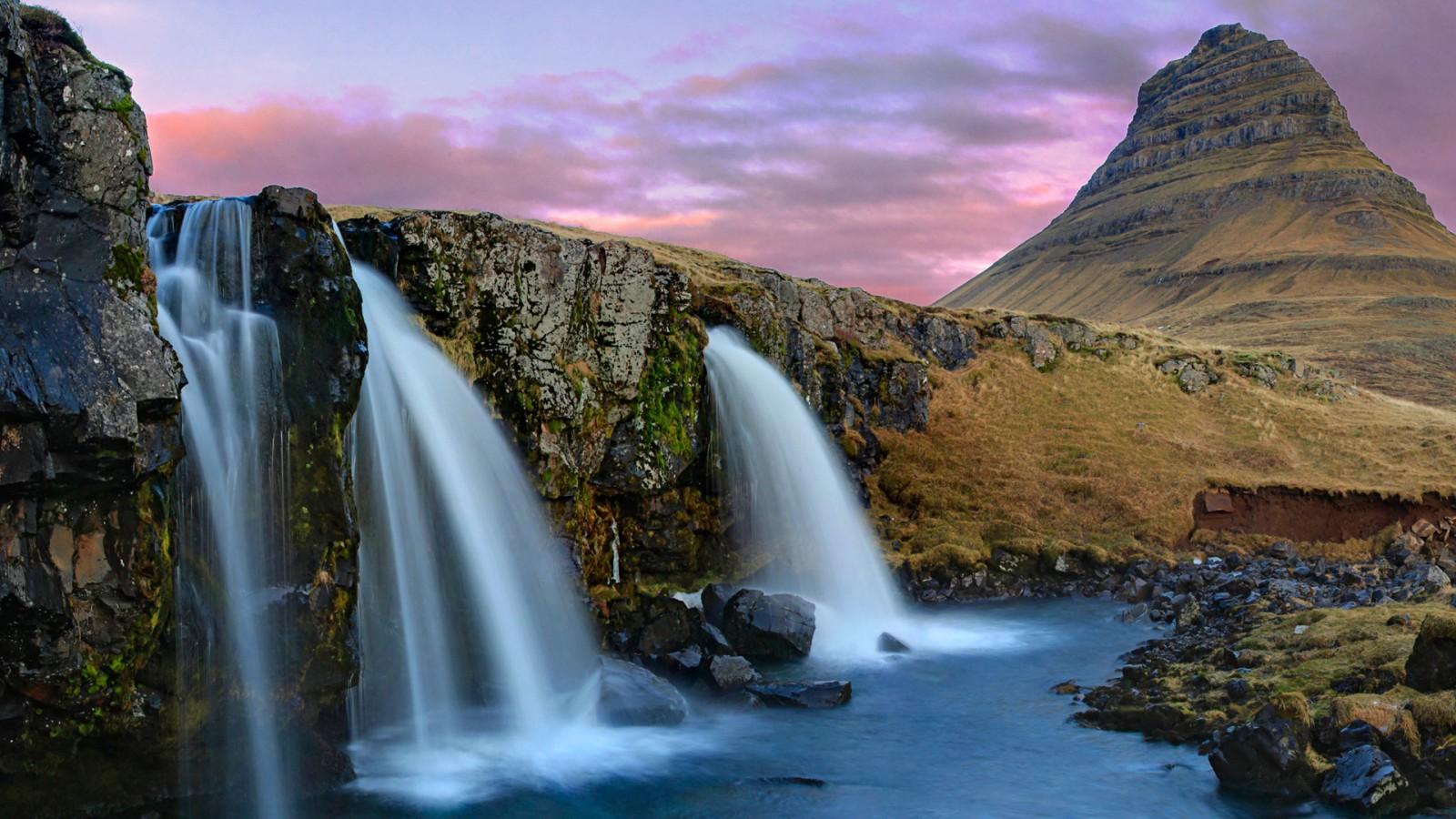 3d Wallpaper Widescreen Waterfalls Kirkjufell Mountain Waterfalls Iceland Wallpapers Hd