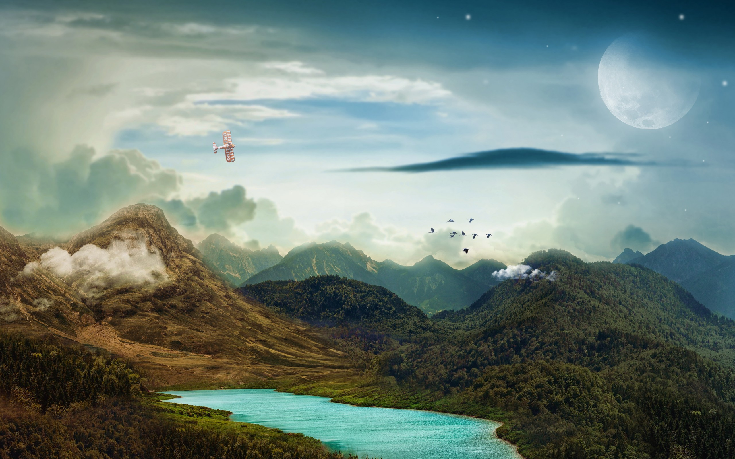 Green 3d Wallpaper Hd Mountains Landscape Moon 4k Wallpapers Hd Wallpapers