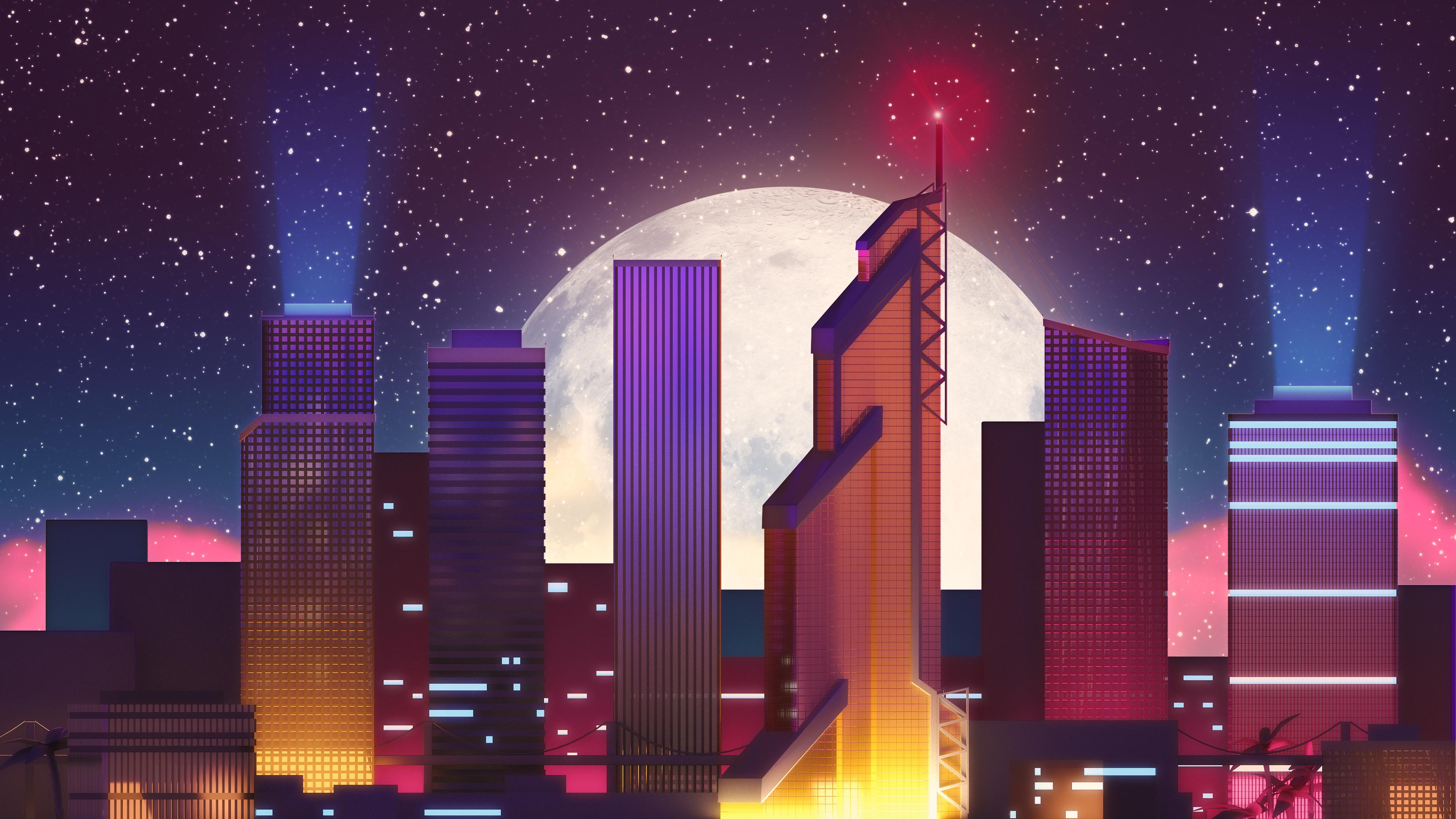 3d Hd Vaporwave Wallpaper Neon City 4k Wallpapers Hd Wallpapers Id 23435