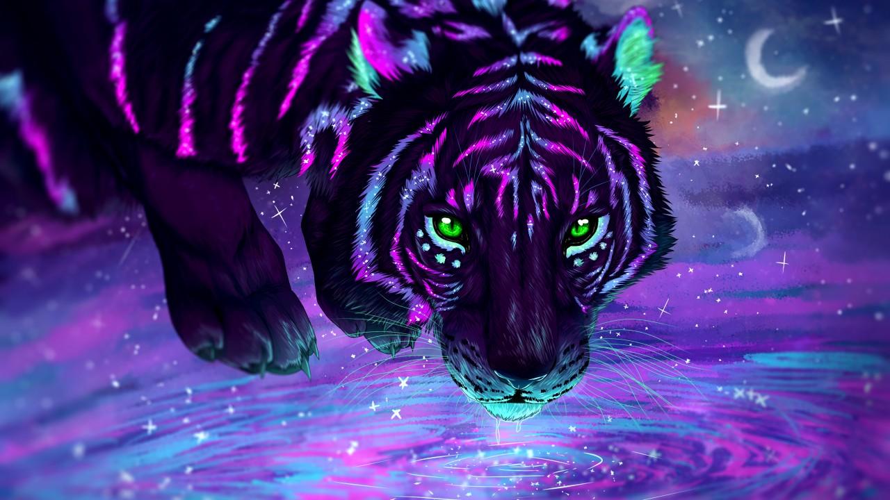 3d Wallpaper Cute Girl Neon Tiger Wallpapers Hd Wallpapers Id 28044