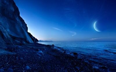 Nightfall Mountain Sea Moon Wallpapers | HD Wallpapers | ID #13418