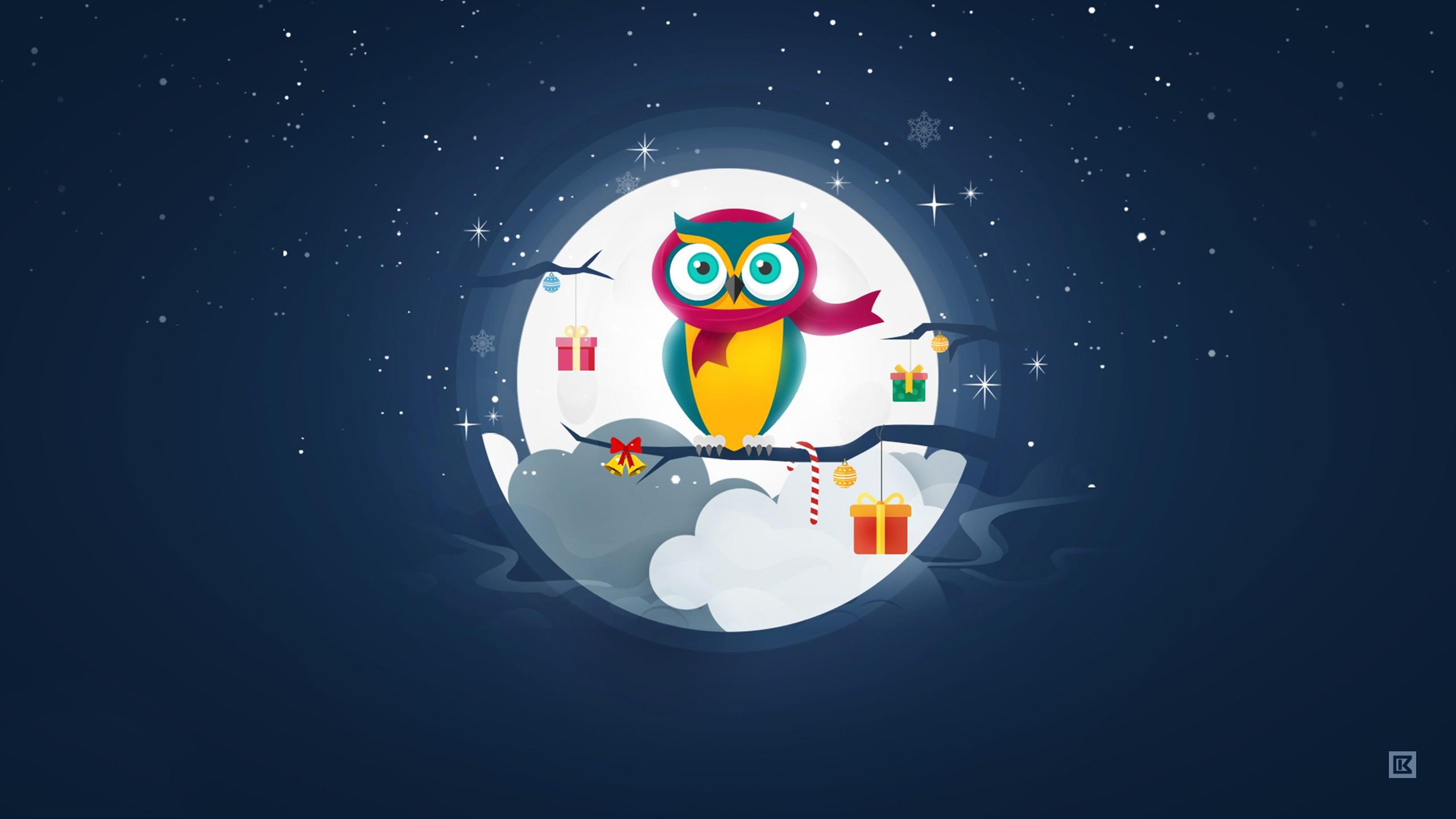 Cute Owl Cartoon Wallpaper Owl Christmas Winter Season Wallpapers Hd Wallpapers