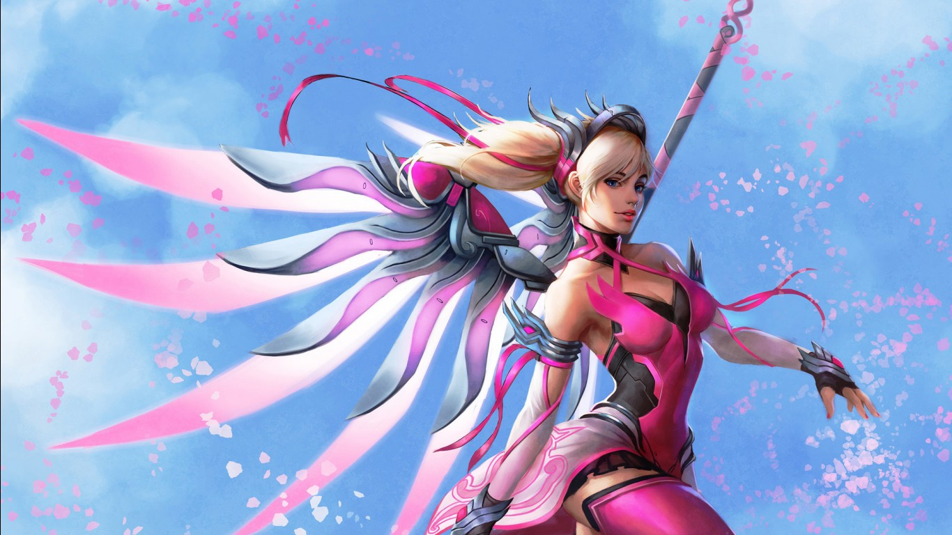 3d Animated Wallpapers For Mobile Free Download Pink Mercy Overwatch Wallpapers Hd Wallpapers Id 24798