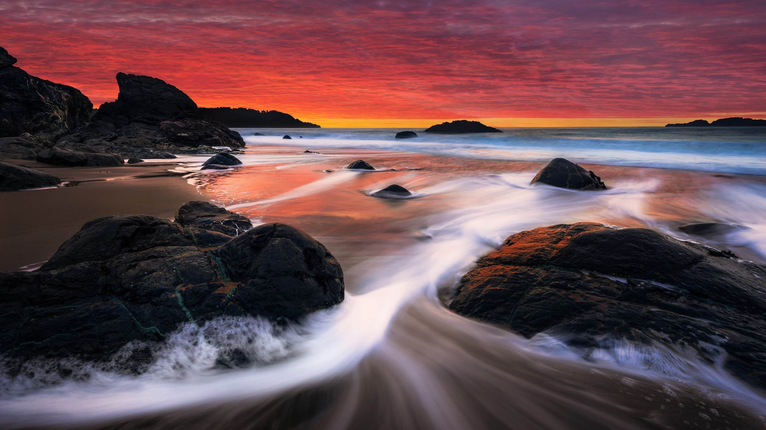 Cute Pink Wallpaper For Iphone 6 Sunset Rocks Shore Beach Stream Wallpapers Hd Wallpapers