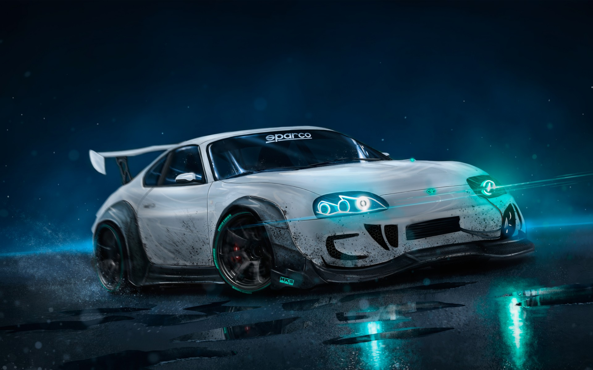 Car Hd Wallpaper For Iphone Toyota Supra Neon Lights 4k Wallpapers Hd Wallpapers