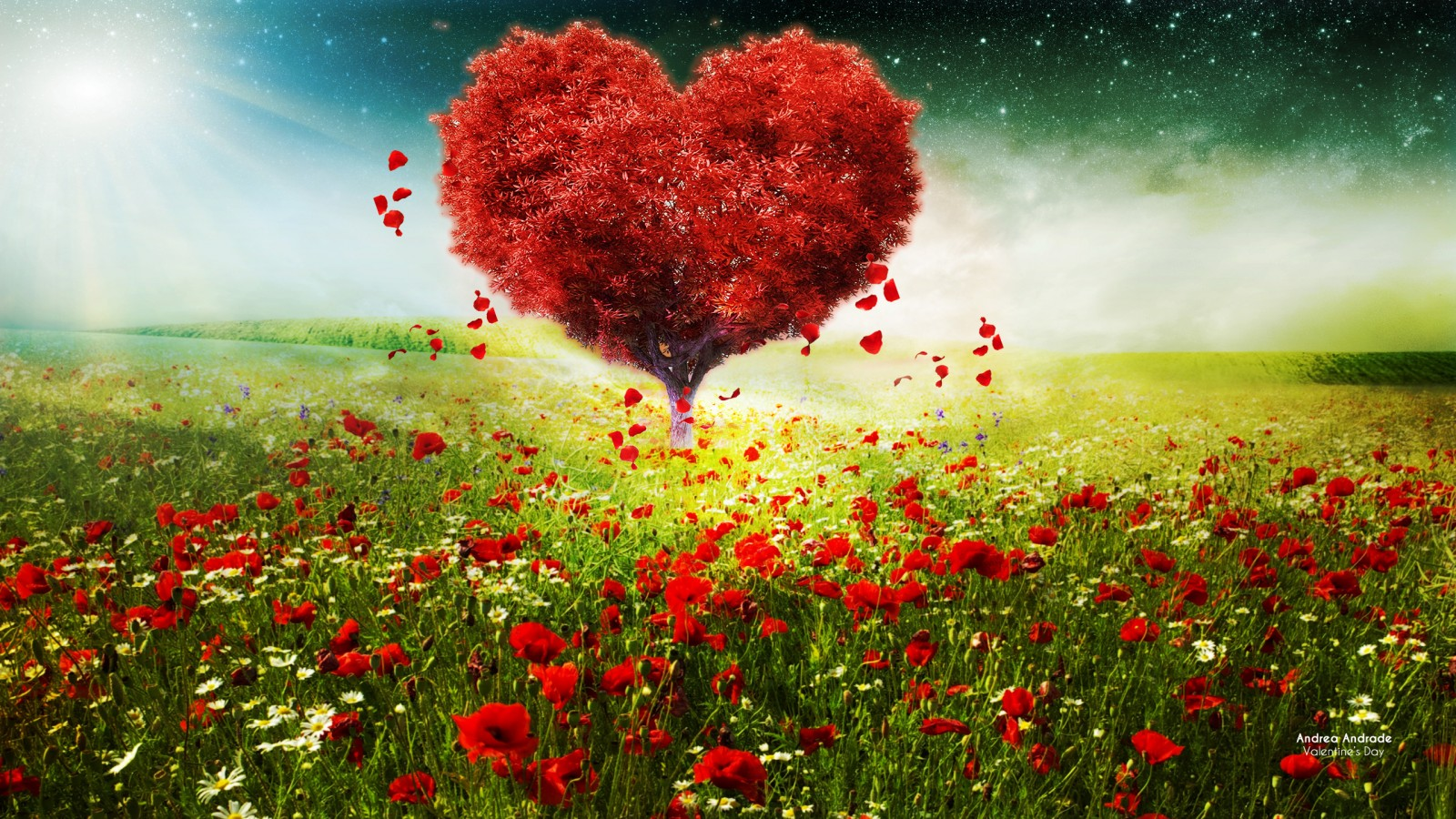 Kiss Day Wallpaper Hd Valentines Day Love Heart Tree Landscape Hd Wallpapers