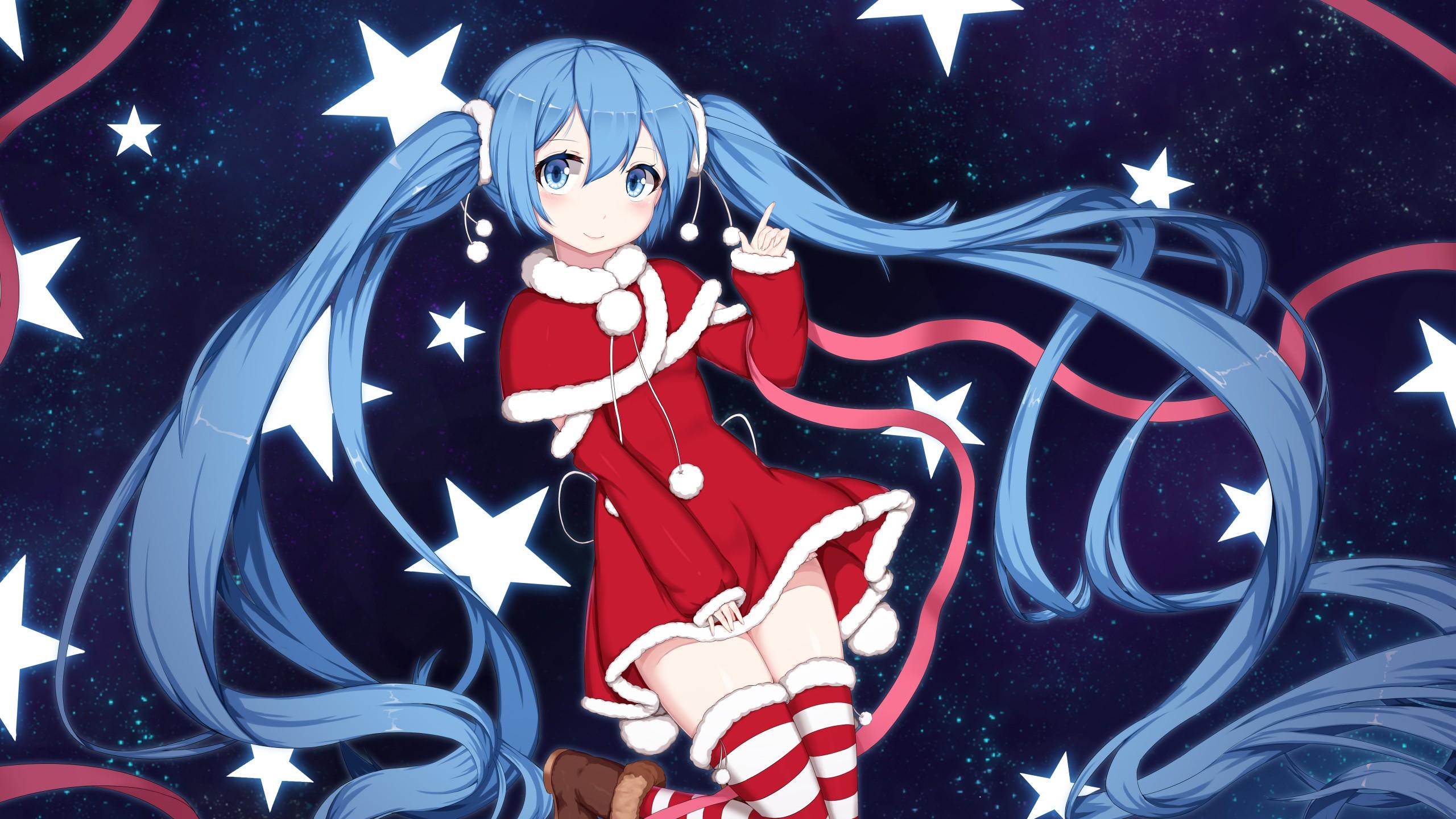 Miku Iphone Wallpaper Vocaloid Hatsune Miku Santa Wallpapers Hd Wallpapers