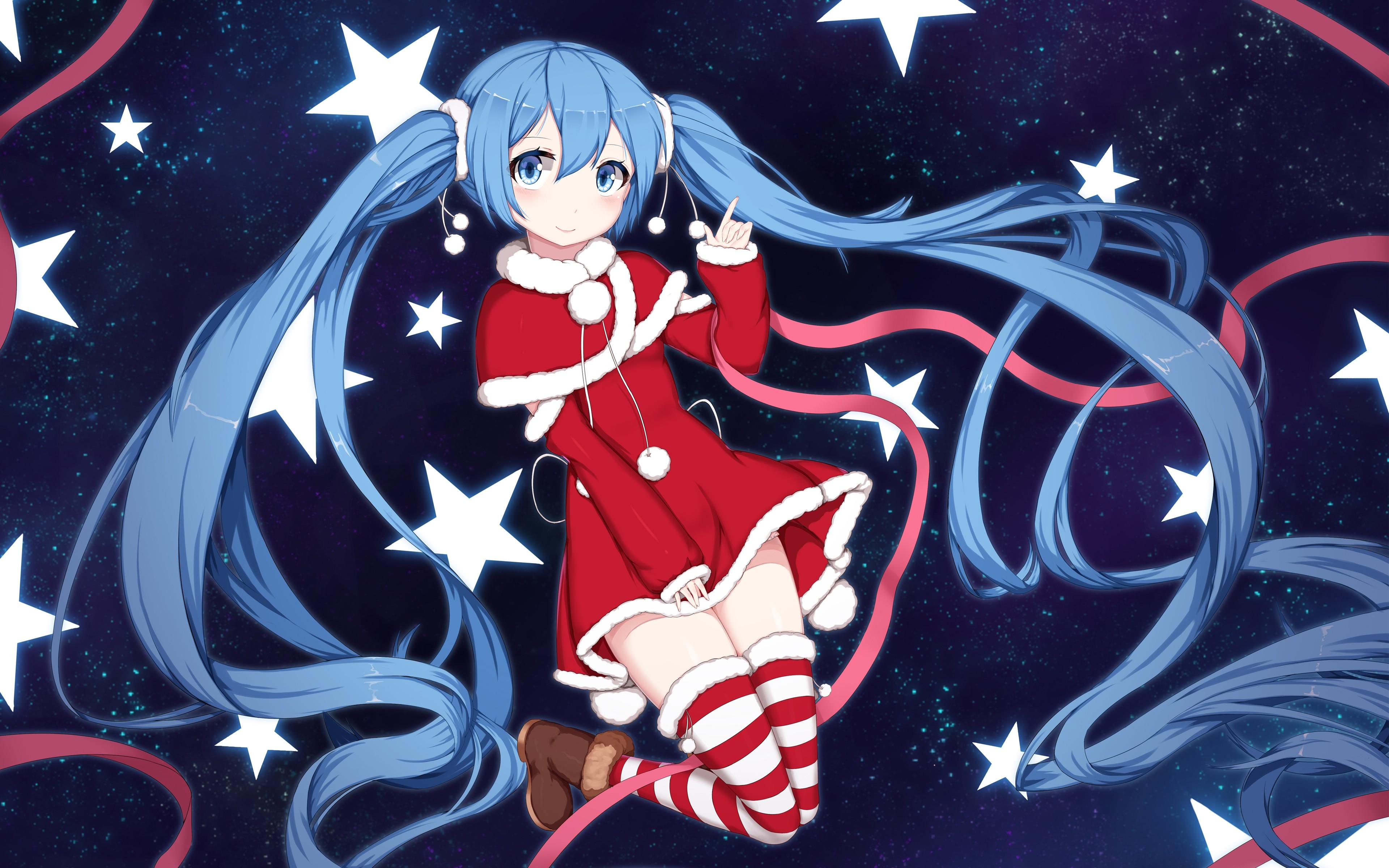 Alone Girl Wallpaper Hd Download Vocaloid Hatsune Miku Santa Wallpapers Hd Wallpapers