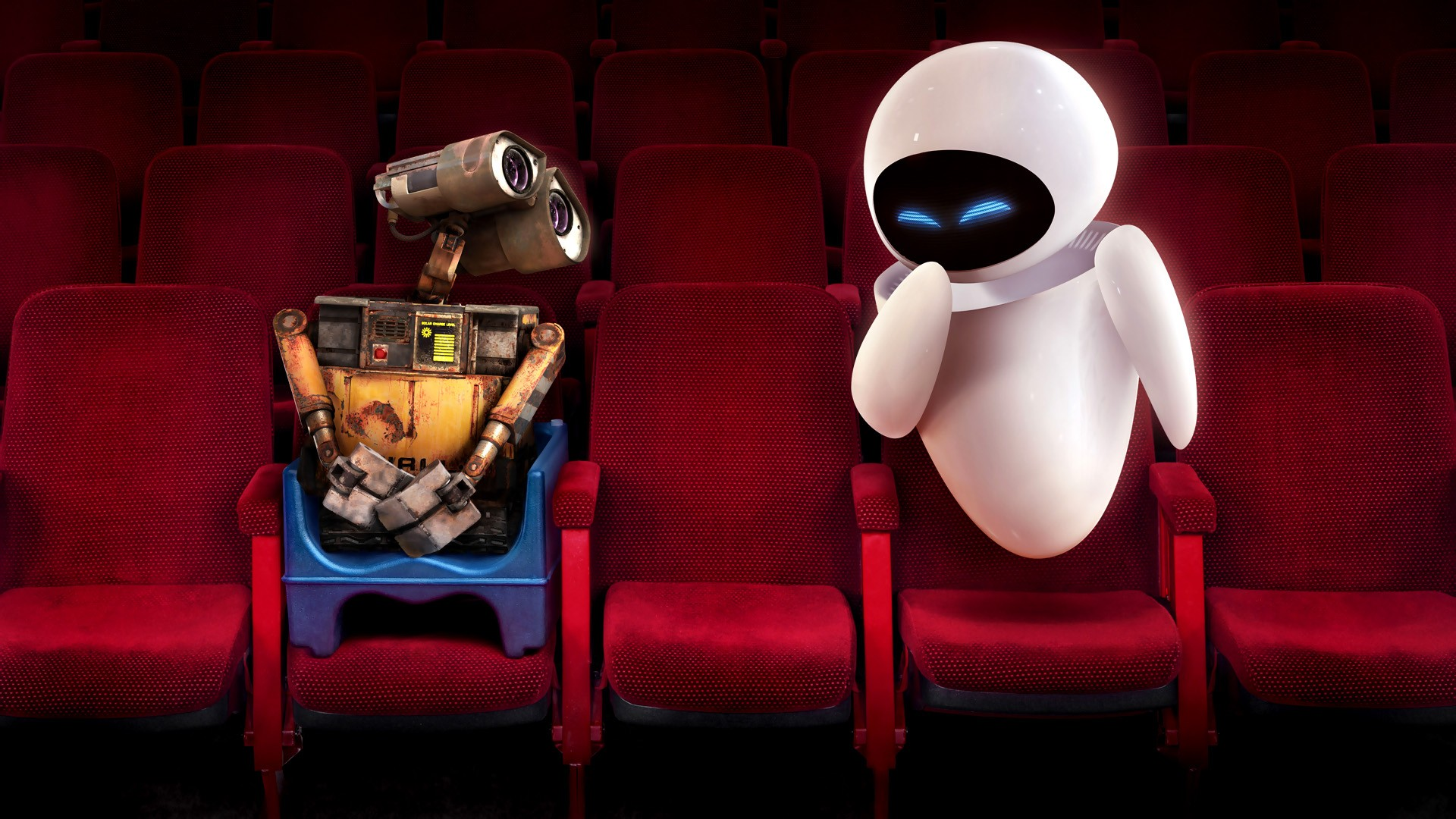 Pixar Cars Wallpaper Wall E And Eve In Theater Wallpapers Hd Wallpapers Id
