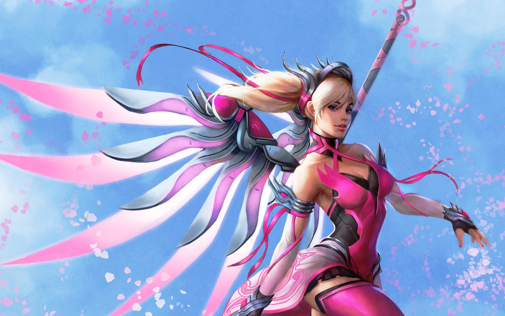 Iphone 5s Pink Wallpaper Pink Mercy Overwatch 4k Wallpapers Hd Wallpapers