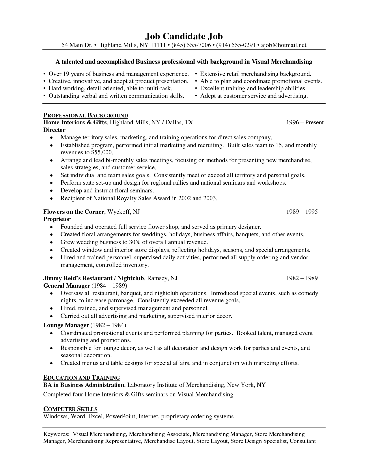 resume examples for merchandise specialist
