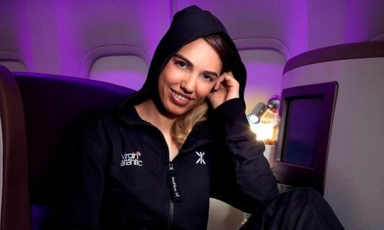 Amber Le Bon in the first Upper Class Onesie on board Virgin Atlantic