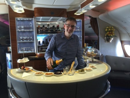 Emirates A380 business class review bar