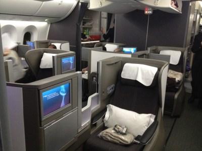 British Airways 787-9 Club World business class