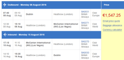 Las Vegas cheap business class flights