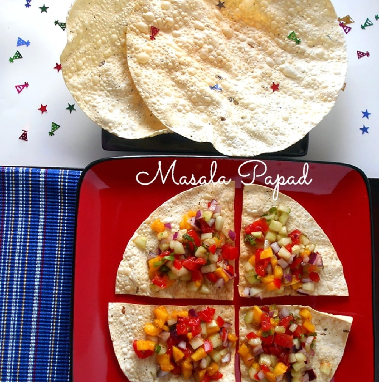 Masala Papad - Quick Appetizer common in Indian food. Take the regular papad and spruce it up with a delicious mango masala topping