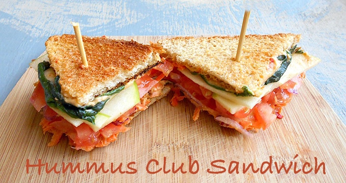 Hummus Club Sandwich Recipe (Vegan)