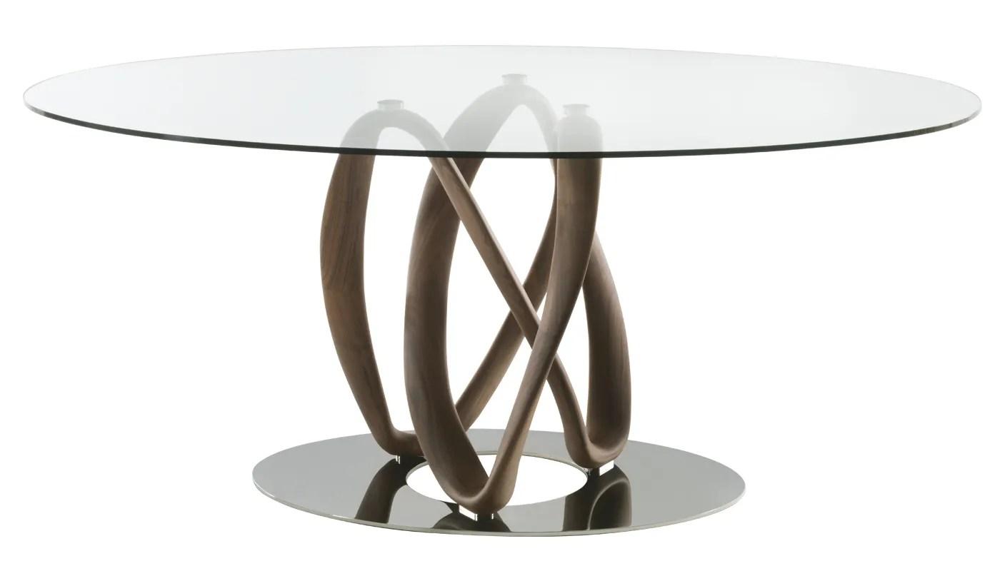 Porada Infinity Elliptical Table Clear Glass Top Canaletta