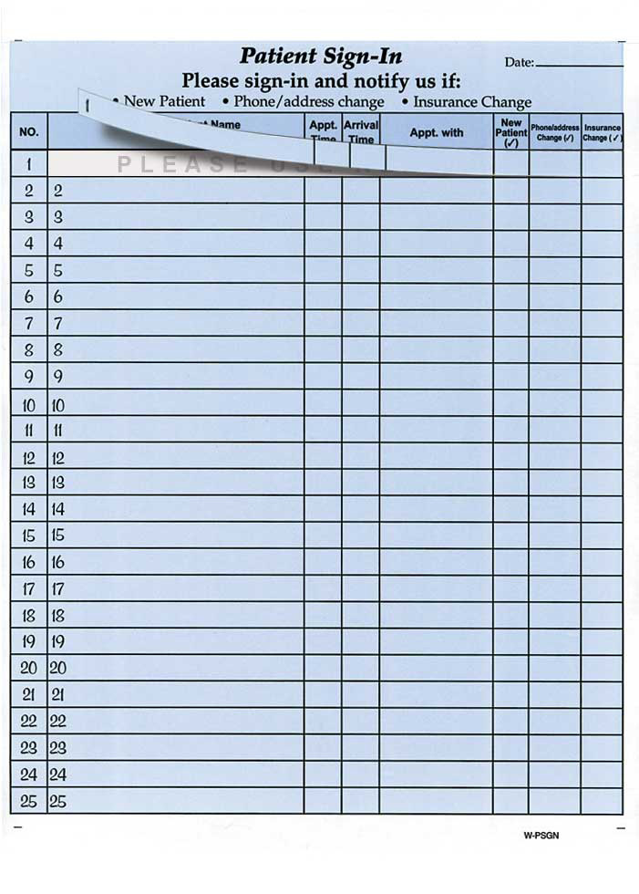 HIPAA Patient Sign-in Sheets - Health Forms  Systems, Inc - doctor sign in sheet