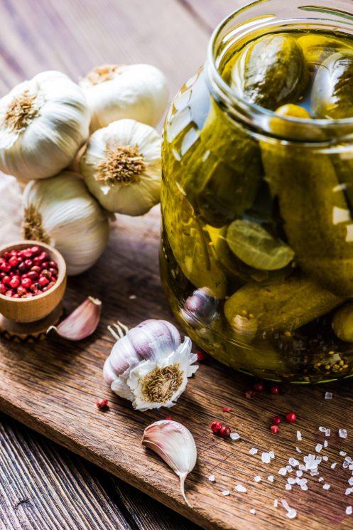 Pickled gherkins in jar, fermented food
