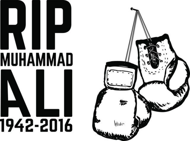 Rip Muhammad Ali. Boxing gloves isolated on white background. De