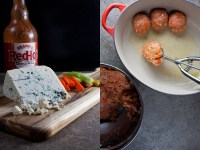 buffalo chicken meatballs diptych