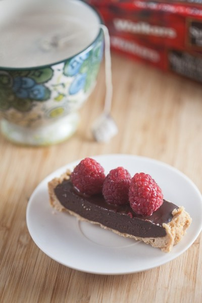 lavender dark chocolate tart with raspberries