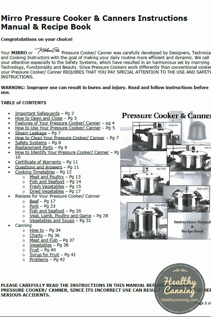 Mirro Pressure Cooker  Canners Instructions Manual  Recipe Book - instructional manual