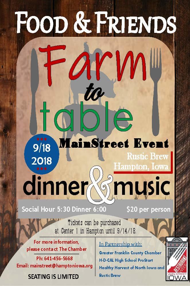 Hampton Farm to Table Dinner Flyer Healthy Harvest of North Iowa