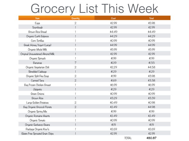 This Weeks Eats With Grocery Budget, Plan  List - Paige Schmidt LLC