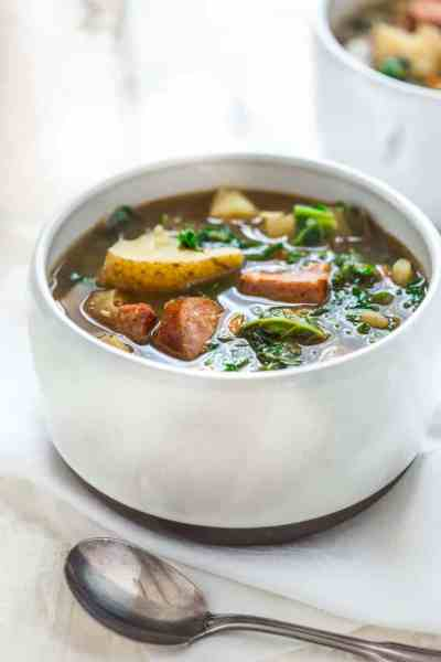 potato and kale soup with andouille - Healthy Seasonal Recipes