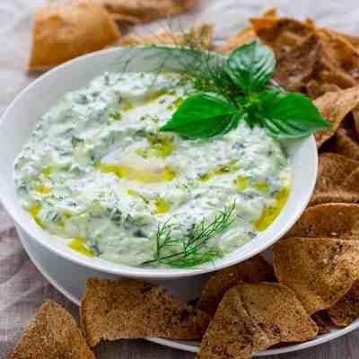 tzatziki with za'atar pita chips - Healthy Seasonal Recipes