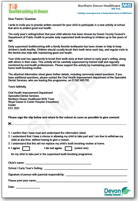 APPENDICES Forms Parental consent form - Healthy Teeth Devon - parent consent forms