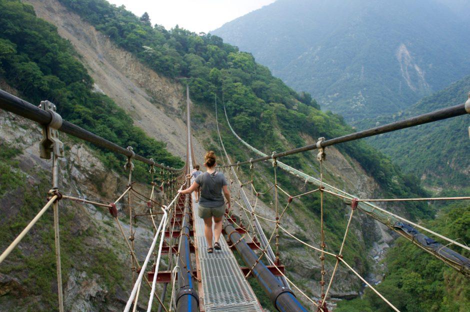 suspension bridge to double dragon waterfall