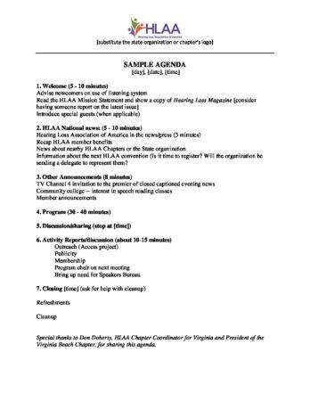 Sample Meeting Agenda - Hearing Loss Association of America