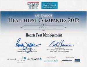 San Diego Business Journal Healthiest Companies Award Certificate