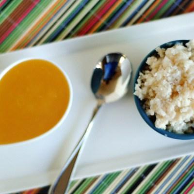 Frozen Yogurt Granita with Fresh Mango Sauce