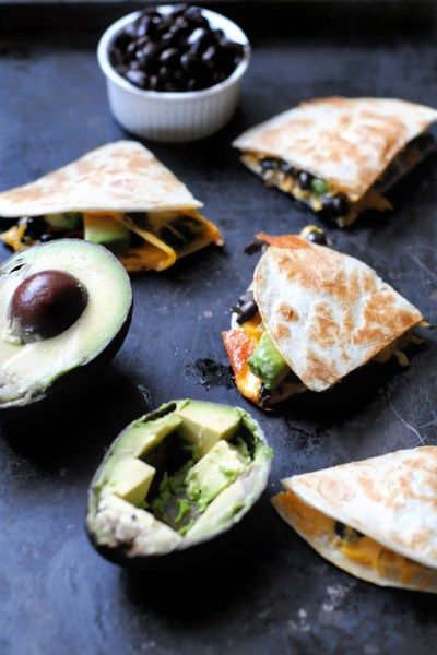 Toasted Black Bean and Avocado Quesadillas