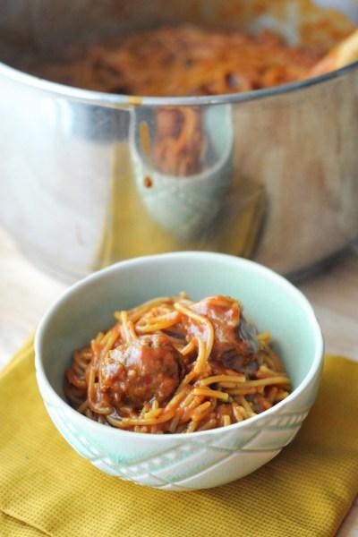 Saucy One-Pot Spaghetti & Italian Sausage Meatballs