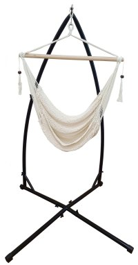 Cotton Rope Hanging Hammock Chair with Tassels + Stand | eBay