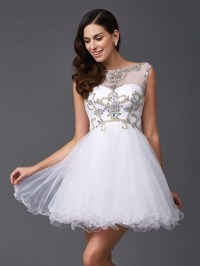 A-Line/Princess Scoop Beading Sleeveless Short Net Dresses ...