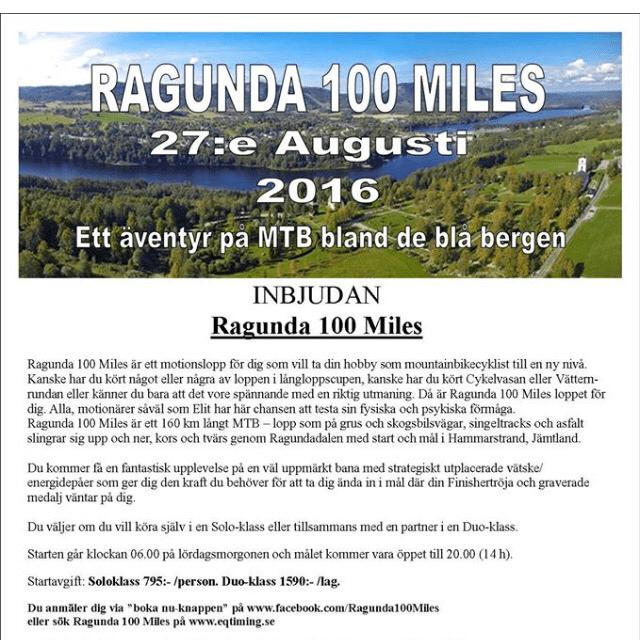 Ragunda 100 miles - nytt mtblopp