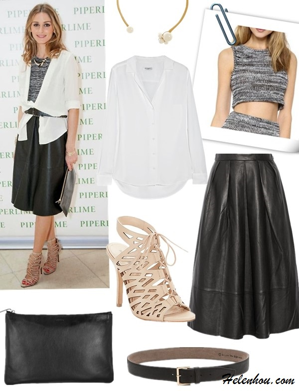 Olivia Palermo style 2014;  spring summer 2014 outfit ideas; how to wear black and white; midi skirt trend, fringe trend,  Necklace: Kenneth Jay Lane Gold-plated faux pearl collar necklace  Shirt: Equipment Adalyn washed-silk shirt  Top: For Love & Lemons Sporty Knit Crop Top  Skirt: Tibi Pleated leather midi skirt (the neatly pleated waist won't add bulk, the leather is butter soft. Wear it in fall/winter with tights and booties; similar here)  Belt: B-Low The Belt Tyler Belt  Shoe: Pour La Victoire Cut-Out, Lace-Up Leather Sandals  (also here; another great deal here!)  Clutch: Jil Sander Medium leather clutch