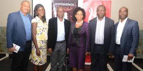 From Left: Scientific and Regulatory Affairs Manager Coca- Cola Nigeria Limited East and West Africa, Mr Fred Chiazor; Consultant and Senior Lecturer, Department of Community Health, College of Medicine, LUTH, Dr. Kemi Odukoya; flanked by Senior Research Fellow, Nigeria Institute of Medical Research NIMR, Yaba, Dr. Bartholomew Brai; Country Representative International Confederation of Dietetic Association, Dr. Chika Ndiokwelu; Health Editor, The Sun, Azoma Chikwe; and Director, Public Affairs & Communication, Coca- Cola Nigeria Limited, Clem Ugorji; during the 2015 Health Writers Workshop which held at De Renaissance Hotel, Ikeji