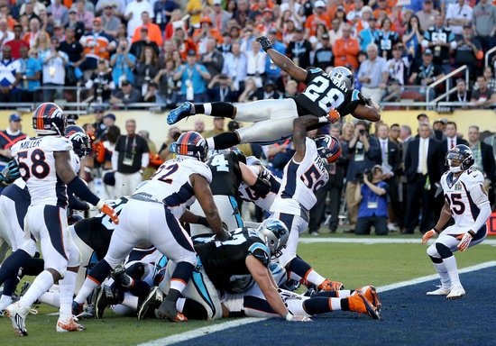 SANTA CLARA, CA - FEBRUARY 07:  Jonathan Stewart #28 of the Carolina Panthers dives for a 1-yard touchdown during the second quarter of Super Bowl 50 against the Denver Broncos at Levi's Stadium on February 7, 2016 in Santa Clara, California.  (Photo by Streeter Lecka/Getty Images)