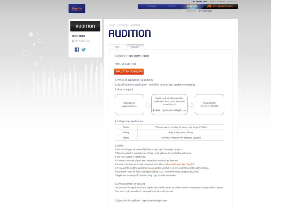 BTS agency Big Hit Entertainment holding open auditions \u2013 Hello Asia! - audition form