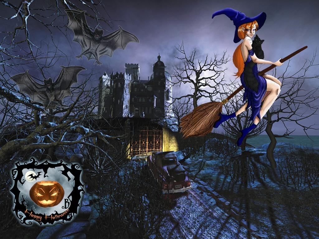 Fall Witch Wallpaper How To Draw Halloween Wallpaper Hellokids Com