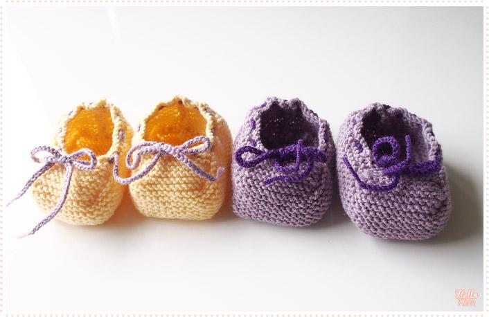 Chaussons-d-ete_tricot-layette_violet-jaune